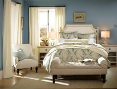 Bedroom featuring paint color Smokey Blue (SW 7604) from the @Pottery Barn & Sherwin-Williams Fall/Winter 2013 Color Collection.