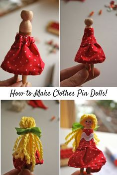 Cute easy clothespin dolls. This would be fun for using fabric scraps. Love the hair! By Gingercake