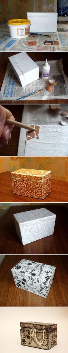 DIY Eggshell Cardboard Box Art