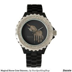 Magical Horse Cute #Unicorn Black and Gold Look Watch #believe or add your name or text #giftideas #mothersdaygift #unicorntribe