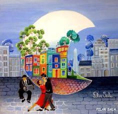 CRUCITA GUTIÉRREZ SEGOVIA: MIS AMIGOS PINTORES - PILAR SALA Tango Art, Illustration Story, Building Painting, Arte Country, Happy Paintings, Naive Art, Art Tutorials, Painting Inspiration, Folk Art