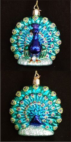 Proud Peacock Glass Christmas Ornament Peacock Christmas Tree, Peacock Ornaments, Glass Christmas Ornaments, Peacock Decor, Peacock Art, Peacock Theme, Peacock Feathers, Christmas Gifts For Women, Vintage Christmas