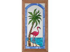 Flamingo Palm Tree Hand Painted Stained Glass Art