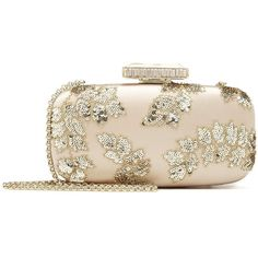 Oscar de la Renta Bisque & Gold Floral Embroidered Satin Goa Clutch (2,220 CAD) ❤ liked on Polyvore featuring bags, handbags, clutches, gold sequin purse, gold clutches, floral handbags, pink sequin purse and pink clutches