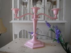 pink candelabra painted candle holder tapered candle by ShabbyRoad, $28.00