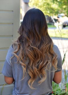 60 chocolate brown hair color ideas for brunettes caramel ombre caramel ombre on long wavy hair urmus Image collections