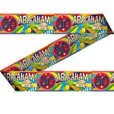 Abraham 50 jaar markeerlint 15 meter. Feestelijk markeerlint met daarop Abraham 50 jaar!