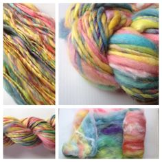 ~SCRAP HAPPY~ Yarn Baby, LLC. #yarn #handspunyarn Art Yarn is so fun! It's fun to spin and fun to stitch up because the weight/texture of the skein is so unique the result is always one-of-a-kind. This skein is pretty much every color (light shades) with some firestar (that's the sparkly stuff!) I got the fiber batt from Boatman Fiber Arts (see the last picture of the listing) and spun it on my Lendrum spinning wheel, set the twist with water and let it dry.