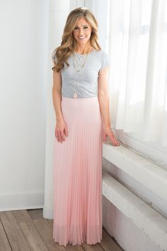 Pleated Maxi Skirt - Light Pink - Magnolia Boutique