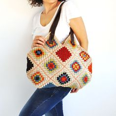 Granny Sguare Afghan Colorful Croched Handbag With Leader Handles - Beige Blue Orange Brown Red Citrine Green by AFRA