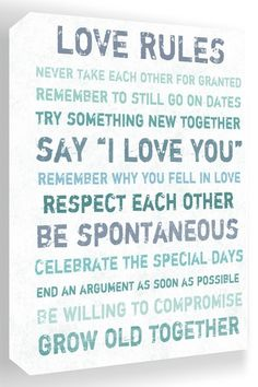Love Rules Blue & White Canvas Wall Art by Inspiring Word Play on @HauteLook