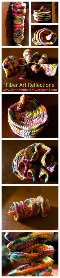 Expanding Spiral: Crochet Tutorial.  These photos are all of the same piece, just twisted into different shapes.