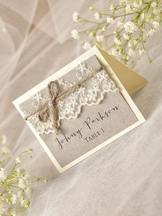Rustic Place Cards (20), Lace Place cards, Grey Wedding stationery, Tented Place Cards, Lace Escort Card, Name Card, Model no: 13/rus/w