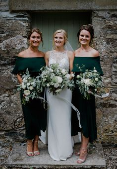 Becca and Mike's White, Gold and Green Geometric Cornish Wedding by Alexa Poppe Green wedding inspiration by Magpie Wedding Emerald Green Bridesmaid Dresses, Off Shoulder Bridesmaid Dress, Emerald Green Weddings, Green Bridesmaids, Emerald Wedding Colors, Wedding Colours, Winter Wedding Bridesmaids, Winter Bridesmaid Dresses, Fall Wedding