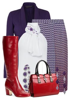 """Red Pop on Purple"" by jennifernoriega ❤ liked on Polyvore featuring Donna Karan, Missoni, Prabal Gurung, Natures Jewelry, Relaxfeel, Calvin Klein and NOVICA"