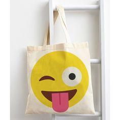 Emoji Tongue Emoji Tote Bag ($20) ❤ liked on Polyvore featuring bags, handbags, tote bags, tote purse, tote bag purse, white tote handbags, cotton tote bag and white cotton tote bag