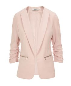 Knit Ruched Zipper Blazer, Blush Pink #rickis #winter #winterfashion #rickisfashion #icypastels #colourofthemoment #loverickis