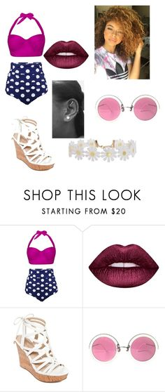 """""""beach day 2..this is us-wattpad story"""" by diva-slays ❤ liked on Polyvore featuring Lime Crime, GUESS, Christian Lacroix and Humble Chic"""
