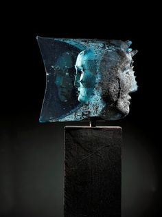 "Bertil Vallien (Swedish, Kosta Boda, ""Janus"" Sand Cast Glass Sculpture with Internal Ornamentation. Glass Ceramic, Mosaic Glass, Fused Glass, Modern Sculpture, Sculpture Art, Antonio Gramsci, Statues, Cast Glass, Kosta Boda"