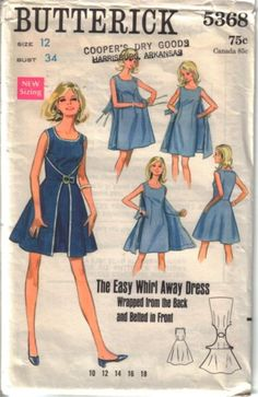 Butterick 5368 Pics of front & back/pattern pieces Australian reprinted pattern Butterick 7500