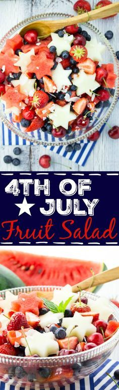 This 4th of July fruit salad with watermelon, honeydew, cherries, and blueberries is not only patriotic but also easy to make, healthy, and so delicious! If you want to get a bit fancier serve it with homemade coconut whipped cream! #fourthofjuly #dessert #july4 #4thofjuly #fruit