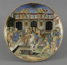 Musée d'Ecouen- Plat: le dévouement de Marcus Curtius. ECL1938. 1550. URBINO (origine) Faïence, majolique.