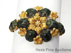 Stunning Antique Genuine Scarab High Karat Gold Natural Pearl Flower Bracelet #Statement
