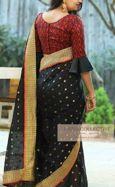 Black Heavy Cotton Jacquard Butti & Lace Work Designer Saree With Stitched Maroon Satin Silk Digital Printed Blouse For Wedding Wear Sari Wedding Saree Blouse Designs, Pattu Saree Blouse Designs, Saree Blouse Patterns, Fancy Blouse Designs, Designer Blouse Patterns, Blouse Neck Designs, Wedding Sarees, Blouse Styles, Indian Designer Outfits