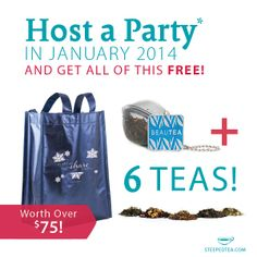 Host a party in January 2014 to get your Steeped Tea Swag bag! See poster for details. www.steepedtea.com/monthly-specials Host A Party, Tea Party, Tea Companies, You Got This, January, Swag, How To Get, Business, Poster