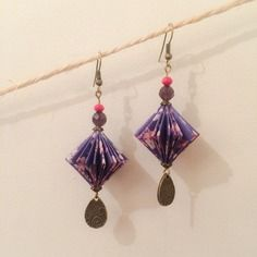 Etsy - Shop for handmade, vintage, custom, and unique gifts for everyone Origami Jewels, Origami And Quilling, Quilling Paper Craft, Origami Paper, Origami 2018, Paper Crafts, Fabric Earrings, Paper Earrings, Wood Earrings