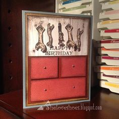 """""""iMakeCards...here's a masculine birthdaycard I made using Stampinup's Guy Greetings stamp set"""