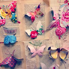 Butterflies made from wrapping paper offcuts or wallpaper