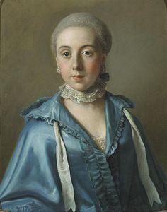 Jean-Étienne Liotard (attrib.) - Un portrait d'une dame avec une robe bleue et col de dentelle
