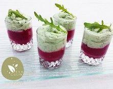 verrine-betterave-roquette remplacer la crème entière par de la crème végétale et prendre crème de soja à monter en chantilly , riz, avoine (à voir)