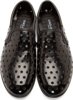 Dolce & Gabbana Black Leather Perforated Loafers