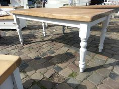 Romantic country house style dining table/plank table made of solid wood lumber handmade & measure t Wood Lumber, Old Wood, Plank Table, Wood Table, Childrens Lamps, Dining Table Makeover, Esstisch Design, Small Kitchen Tables, Bleached Wood