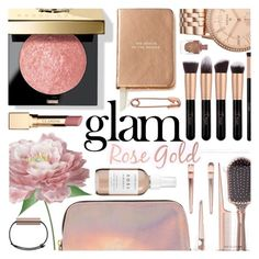 """""""Holiday Makeup: Rose Gold"""" by pastelneon ❤ liked on Polyvore featuring beauty, Bobbi Brown Cosmetics, Forever 21, Herbivore, Kate Spade, Naeem Khan, FOSSIL, Clarins, makeup and trend"""
