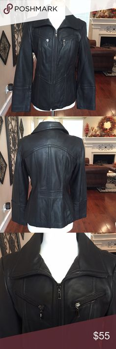"Beautiful real leather dark brown jacket Size M  Beautiful dark brown real leather jacket. Bromely Collection. Size M. Bust measures approx. 40"" all around and length is approx. 24.5"". Excellent condition. Worn probably twice then kept safely stored in my closet. Still had tags in pocket. Paid $160 full price. Remember to bundle and save 10% on 2 items. If you purchase 3 items or more I'll give you a special discount. Just ask  Soma Jackets & Coats"
