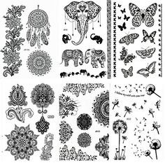 Pinkiou Henna Tattoo Stickers Lace Mehndi Temporary Tattoos for Maverick Women Teens Girls Metallic Tattooing Pack of 6 black * Be sure to check out this awesome product.