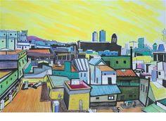 """Daily Paintworks - """"Barcelona downtown roofs landscape"""" - Original Fine Art for Sale - © Gonzalo Centelles"""