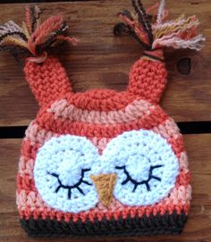 Crochet Baby Hat, Infant Owl Hat, Baby Halloween Hat, Newborn Halloween Hat, Infant Halloween Costume, Baby Costume, Newborn…