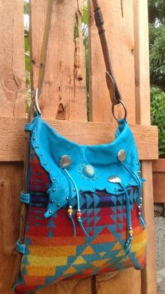 Pendleton Wool & Turquoise Deerhide Western by DoubleJOriginals, by Eva