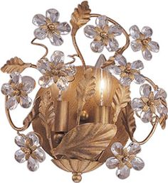 """Crystorama Abbie 5302 Paris Flea Antique Reproduction 2-Light Wall Sconce from the Abbie Collection  5302-AW, GL, DR, CM Abbie $178.00  This Art Nouveau Sconce is a part of the Abbie Paris Flea Collection.  Finish: Antique White, Dark Rust or Gold Leaf Crystal: Clear Hand Cut Crystal Flowers Dimensions: W10.75"""" x H10.25"""" x Ext.4"""" Bulbs: 2 x 60W Candelabra Brand Lighting Discount Lighting - Call Brand Lighting Sales 800-585-1285 to ask for your best price!"""