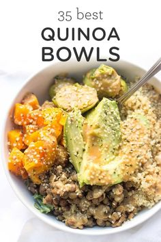 A collection of the 35 BEST quinoa bowls! With all types of cuisine and all types of meals there is sure to be a quinoa bowl for everyone. Easy homemade vegan vegetarian gluten-free quinoa recipes with black beans vegetables you name it! Quinoa Recipes Easy, Vegetarian Recipes, Healthy Recipes, Vegan Vegetarian, Quinoa Dinner Recipes, Quick Recipes, Meals With Quinoa, Quinoa Diet, Easy Quinoa Bowl