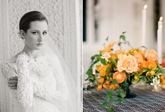 Dress by Monique Lhuillier. Photograph by Lisa Lefkowitz. Flowers by Max Gill. Via Snippet & Ink