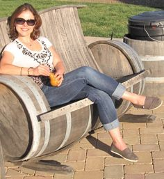 Wow.. An awesome rocking chair made from a wine barrel. love it.