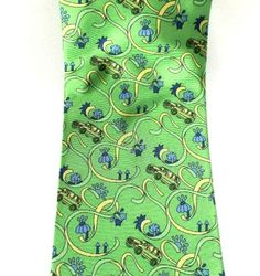 XS Mens Pure Silk Tie Necktie Cars Autos Bright Green Classic Made in Italy #XS #NeckTie