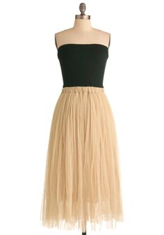 Perfectly Curated Dress - Long, Tan / Cream, Black, Party, Strapless, Solid, Ballerina / Tutu, Twofer