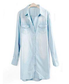 Long Sleeves Washed Denim Blouse