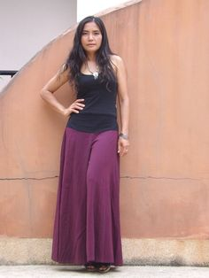 Wide Leg Pants...Flared Pants... Color Purple by Ablaa on Etsy, $39.00